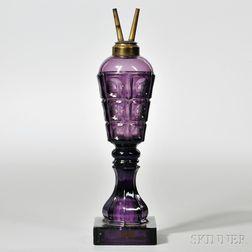Amethyst Pressed Glass Three-printie Block Pattern Lamp