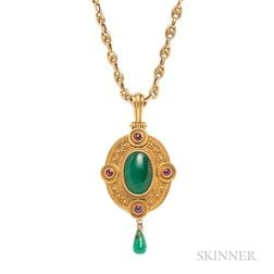 Renaissance Revival Gem-set Gold Pendant