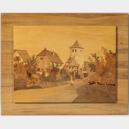 T.L. Spindler Marquetry Picture of Dambach-la-Ville