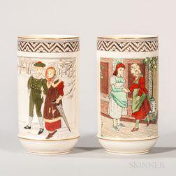 Pair of Wedgwood Helen Miles Decorated Vases