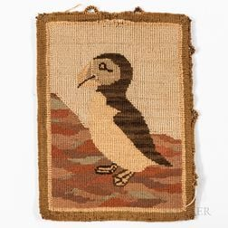 Hooked Mat Depicting a Puffin
