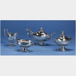 Five Piece Tiffany & Co. Classical Revival Sterling Silver Tea Set