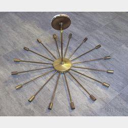 Modern Brass-finished Metal Sixteen-Arm Starburst-form Ceiling Light Fixture