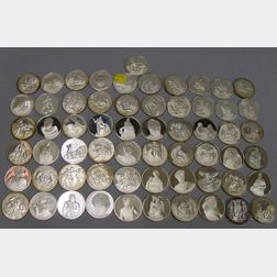 Sixty-one Commemorative Sterling Silver Coins
