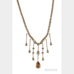 14kt Gold and Colored Diamond Necklace