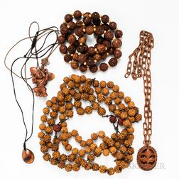 Group of Chinese Carved Wood Jewelry