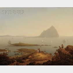 Robert Salmon (Anglo/American, 1775-1844)      Ailsa Craig  /A Firth of Clyde, Scotland, View