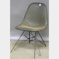 Eames/Herman Miller Upholstered Black Wire Eiffel Tower-base Chair