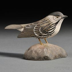 Jess Blackstone Miniature Carved and Painted Blackpoll Warbler Figure