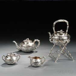 Four-piece Chinese Export Silver Tea Service