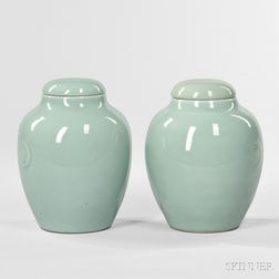 Near Pair of Celadon Covered Jars