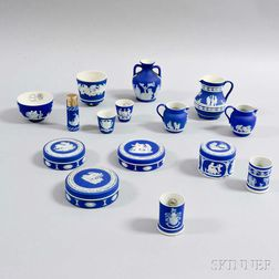 Fifteen Small Wedgwood Dark Blue Jasperware Items