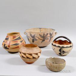 Five Pottery Vessels