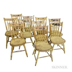 Assembled Set of Ten Yellow Paint-decorated Thumb-back Windsor Side Chairs