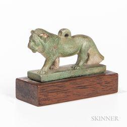 Faience Striding Lion Amulet