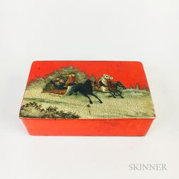 Russian Red Lacquered Box of a Horse and Sleigh