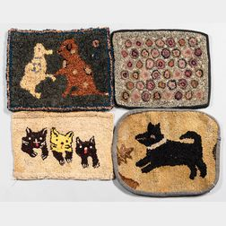 Four Small Hooked Rugs