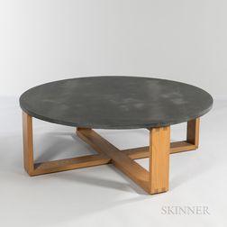Hans Krieks Large Round Slate-top Coffee Table