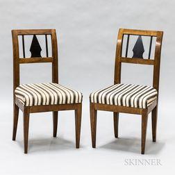 Pair of Biedermeier Fruitwood Side Chairs