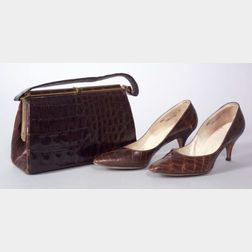 Bellestone Alligator Handbag and Pair of Lady's Mr. Kay Alligator Pumps