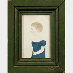 Portrait Minaiture of a Girl in Blue Dress Holding a Green Apple