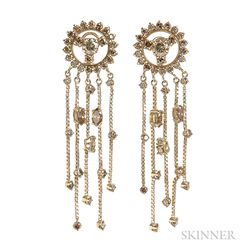 14kt Gold and Colored Diamond Earrings