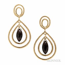 18kt Gold and Smoky Quartz Earrings, Barbara Heinrich