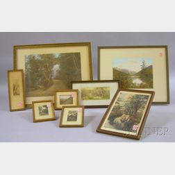 Eight Assorted Framed Hand-colored Photographic Landscape Prints