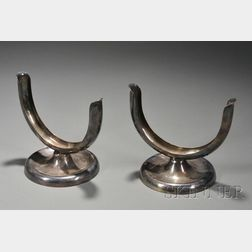 Pair of Porter Blanchard Silver-plated Copper Table Ornaments