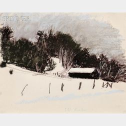 Wolf Kahn (American, b. 1927)      Barn in Winter