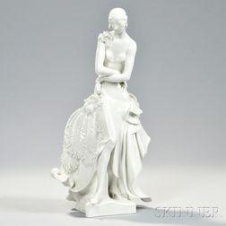 """Meissen Porcelain Figure of """"Stehende Dame Mit Facher,"""""""