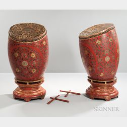 Pair of Leather and Lacquer-decorated Drums with Stands