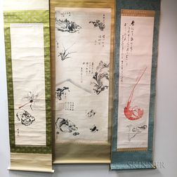 Three Japanese Scroll Paintings
