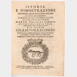 Galileo, Galilei (1564-1642) Istoria e Dimostrazioni Intorno alle Macchie Solari e Loro Accidenti.