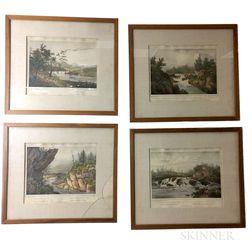 Four Framed Amerique Septentrionale   Hudson River Lithographs