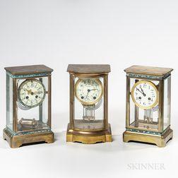 Three Brass and Glass Crystal Regulators