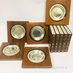 Five Franklin Mint James Wyeth Sterling Silver Commemorative Plates