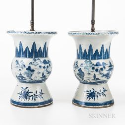 Pair of Export Blue and White Lamp Vases