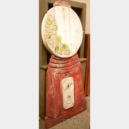 Large Polychrome Painted Carved Wood Gumball Machine Figural Panel