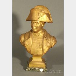 French Gilded Spelter Bust of Napoleon