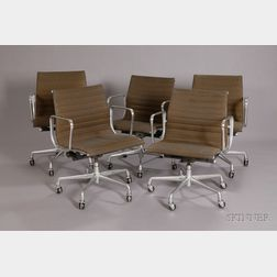 Five Charles and Ray Eames Aluminum Group Chairs Seagram Collection