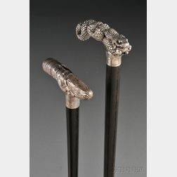Two Sterling Silver-handled Walking Sticks