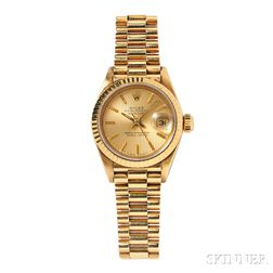 """Lady's 18kt Gold """"Oyster Perpetual Datejust"""" Wristwatch, Rolex"""
