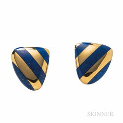 """Tiffany & Co., Angela Cummings 18kt Gold and Lapis """"Striped Shields"""" Earclips"""