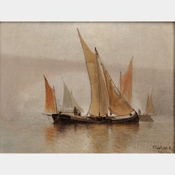 Charles Henry Gifford (American, 1839-1904)      Boats Sailing Near a Bridge in Fog.