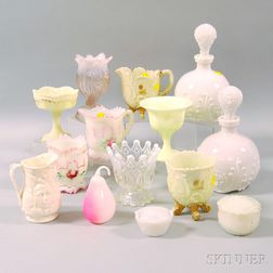 Fourteen Assorted Colored Pressed Glass Items