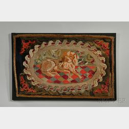 Figural Hooked Wool Rug with Spaniel