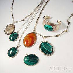 Seven Pieces of Mostly Sterling Sterling-mounted Hardstone Jewelry