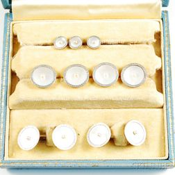 14kt Gold, Platinum, Mother-of-pearl, and Seed Pearl Men's Dress Set