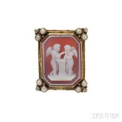 Arts & Crafts 14kt Gold and Hardstone Cameo Brooch